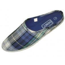 S2662-L - Wholesale Women's Mule Slip-On Blue Plaid Canvas Shoes (Closeouts $1.00/Pr. Case $36.00)